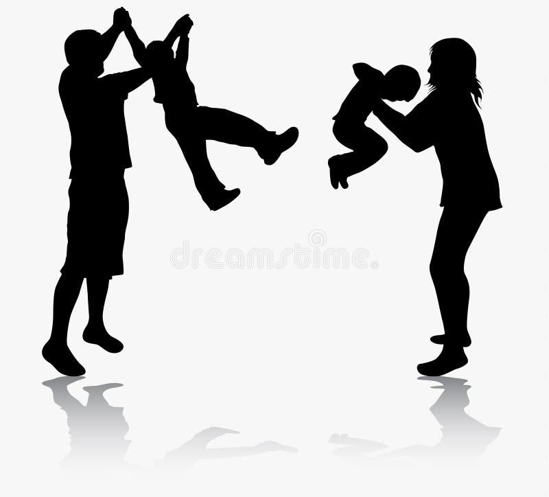 Familie gymnastisch zusammen stock abbildung