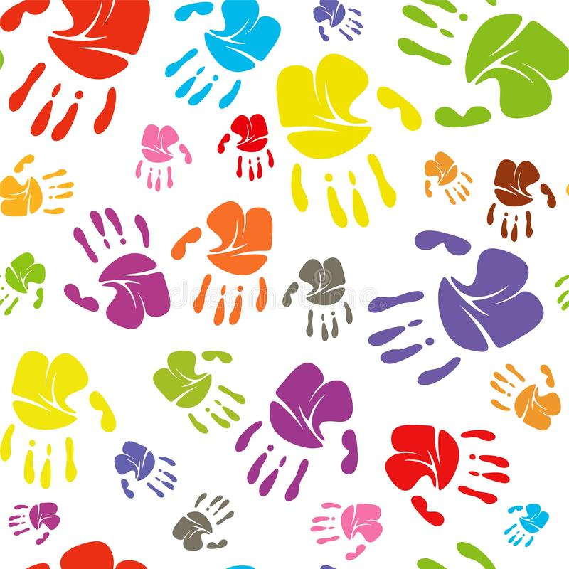 Familie handprints nahtlose Muster Rasterillustration Familie handprints der Mutter, des Vatis, des Kindes und des Babys sozial lizenzfreie abbildung