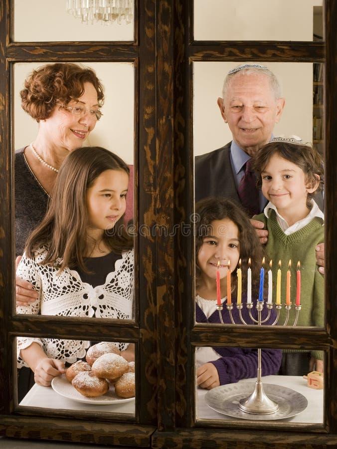 Familie Hannuka royalty-vrije stock foto's