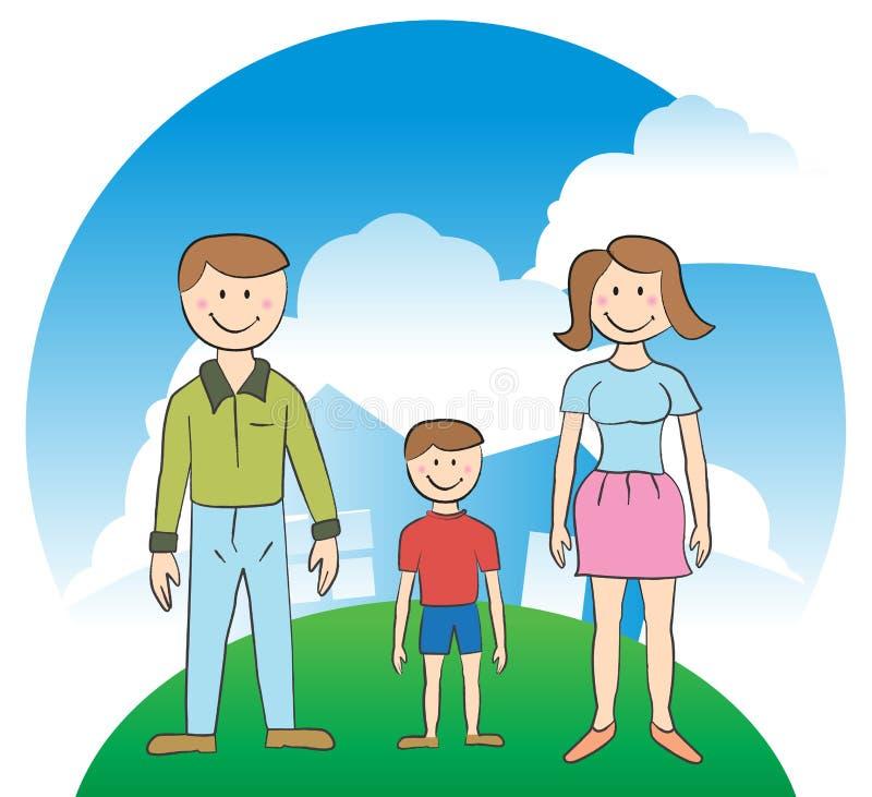 Familie - Haus lizenzfreie abbildung