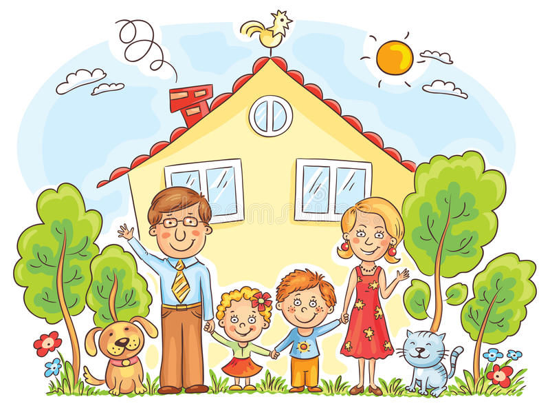 Familie am Haus stock abbildung