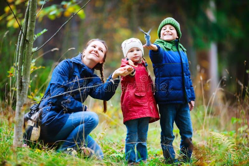 Familie am Herbstpark stockfotografie