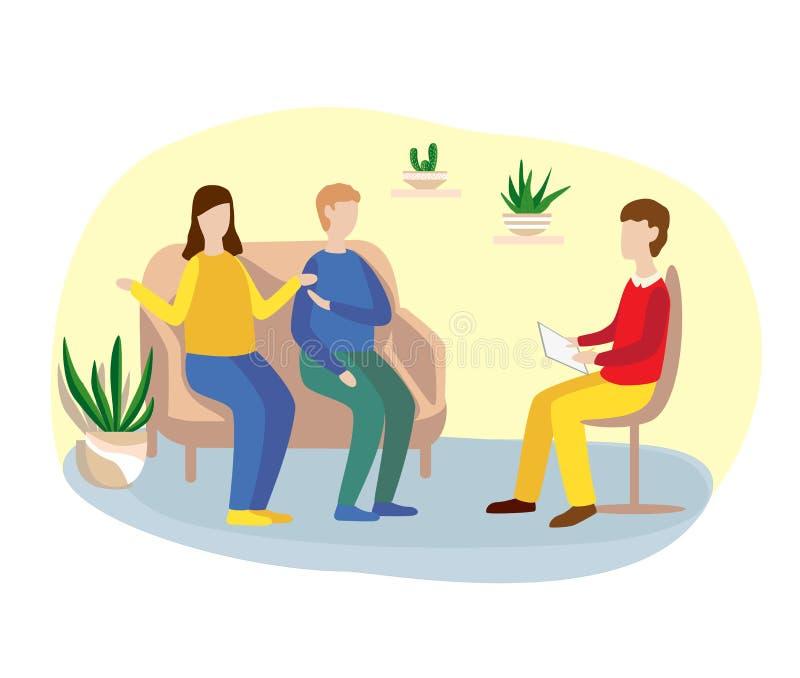 familie het adviseren met een psycholoogpsychotherapie Vlakke illustratie stock illustratie