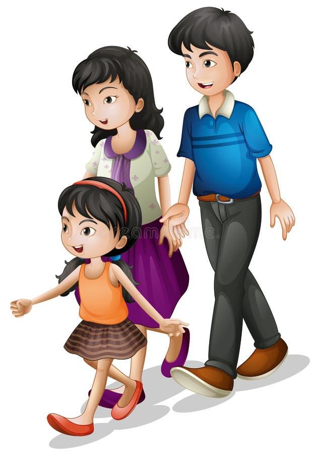 Familie het lopen royalty-vrije illustratie