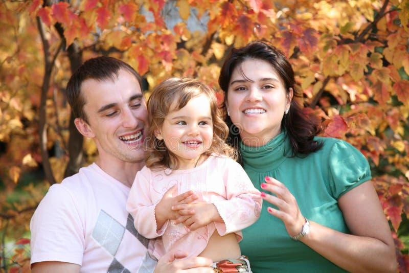 Familie in het park in de herfst stock foto