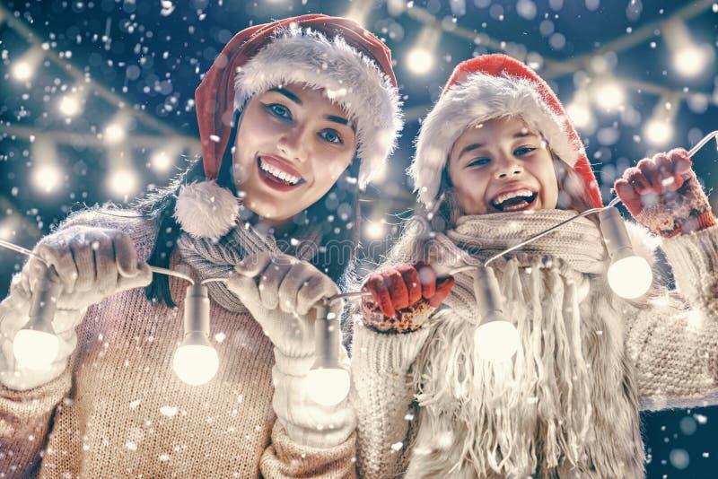 Familie het spelen op de wintergang stock afbeelding