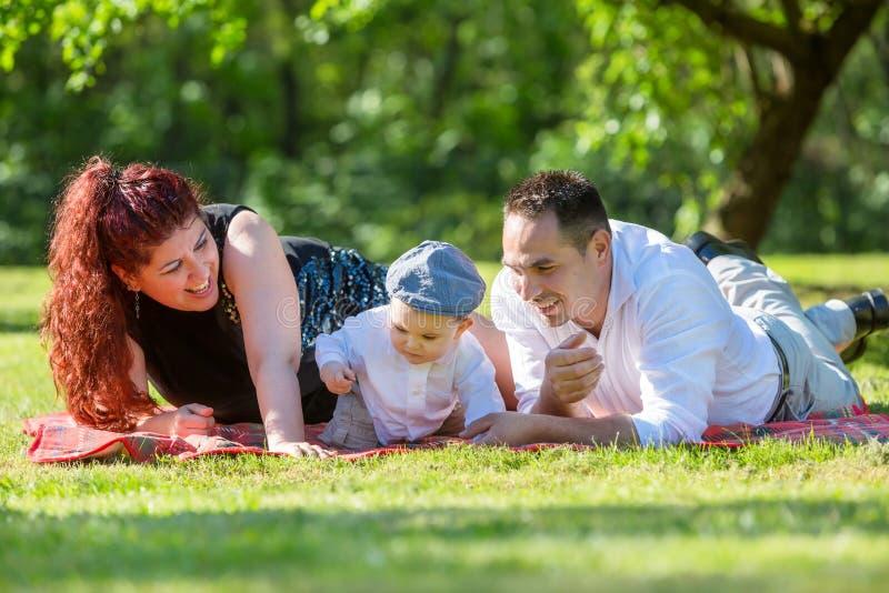 Familie het spelen op gras stock fotografie