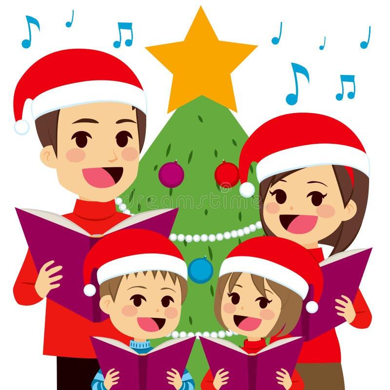 Familie het Zingen Kerstmishymnes royalty-vrije illustratie