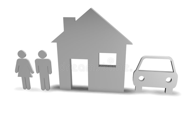 Familie + Huis + Auto stock illustratie