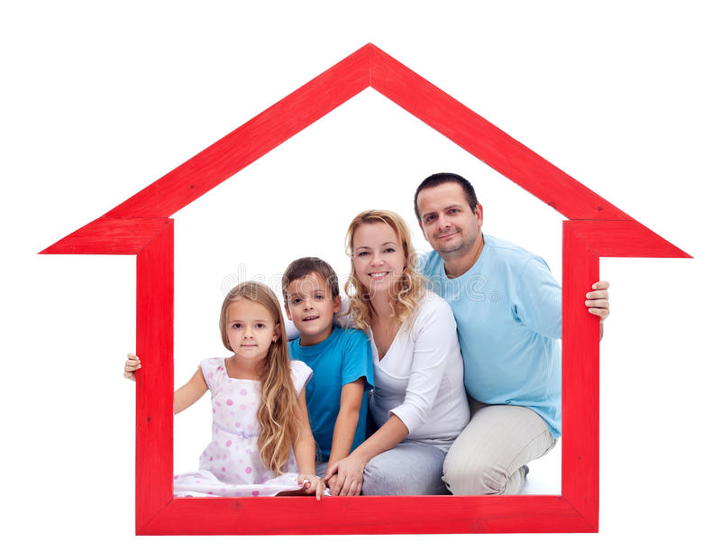 Familie in hun huis stock foto