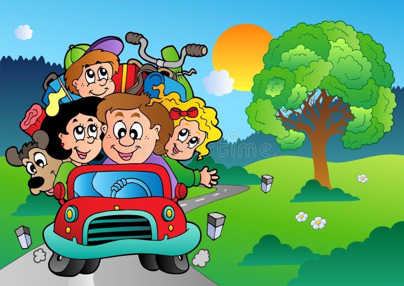 Familie im Auto, das auf Ferien geht lizenzfreie abbildung