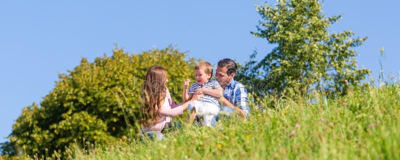 Familie im Gras auf Wiese lizenzfreies stockbild