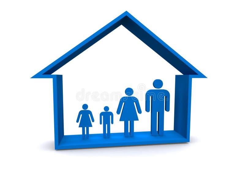 Familie im Haus stock abbildung