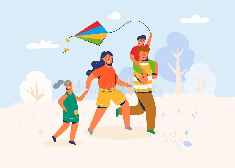 Familie im Park startet den Drachen Eltern und Kindercaracters Laufen im Freien, spielend mit Windspielzeug am Wochenende vektor abbildung