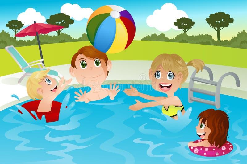Familie im Swimmingpool lizenzfreie abbildung