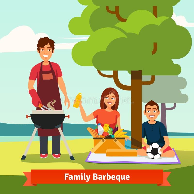 Familie im Urlaub, die bbq im Freien hat stock abbildung