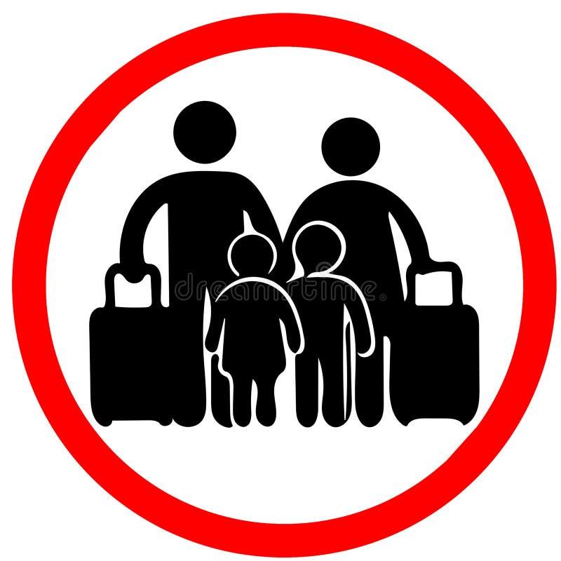 Familie im Urlaub, die das Vorsichtkreis-Straßenkartezeichen lokalisiert auf weißem Hintergrund warnt stock abbildung