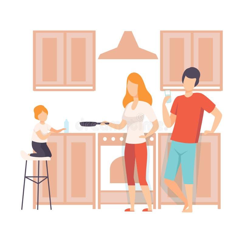 Familie Kokend Voedsel in de Keuken samen, Ouders en Hun Zoon in Dagelijkse het Levens thuis Vectorillustratie royalty-vrije illustratie