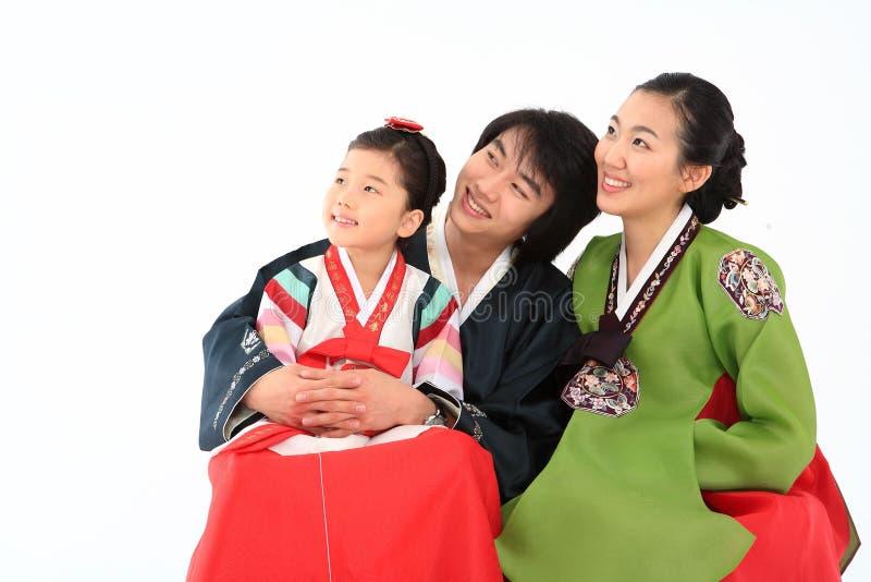 Familie in Koreaanse Kleding royalty-vrije stock fotografie