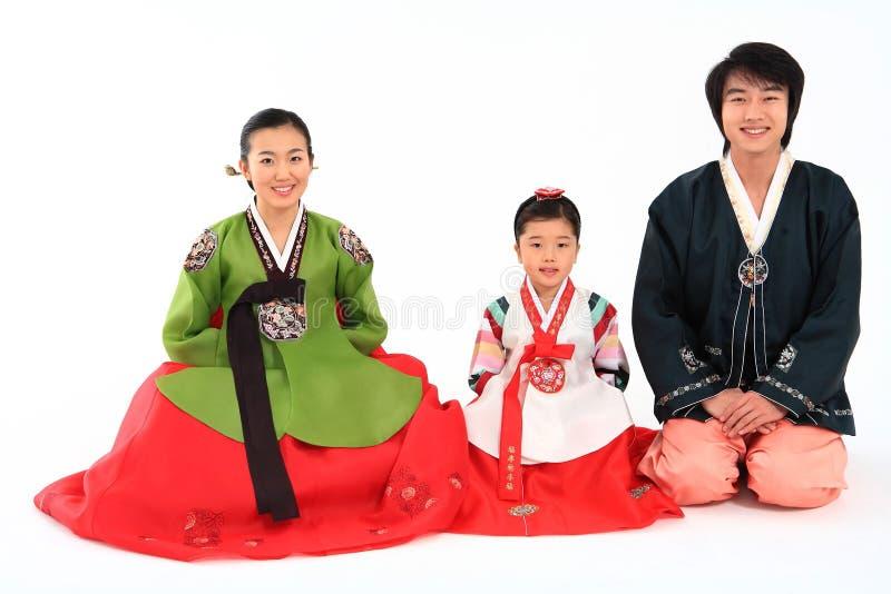 Familie in Koreaanse Kleding stock fotografie