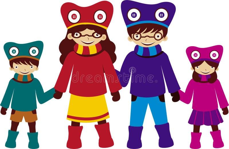 Familie in Kostuum royalty-vrije illustratie