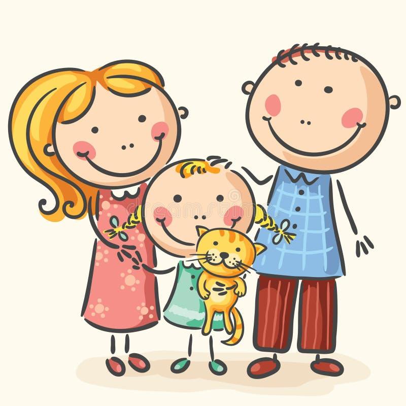 Familie met één kind en een kat royalty-vrije illustratie