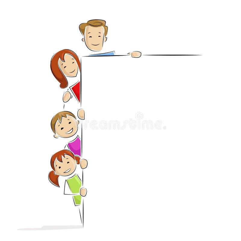 Familie met Aanplakbiljet stock illustratie