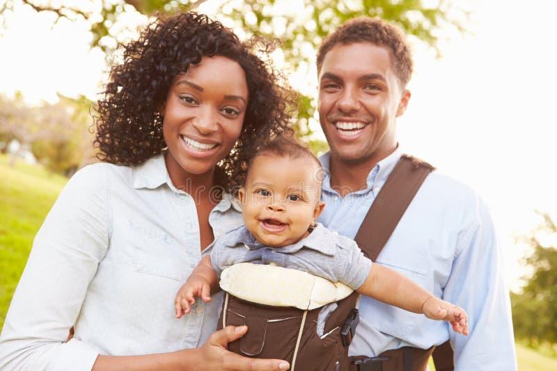 Familie met Babyzoon in Drager die door Park lopen royalty-vrije stock afbeeldingen