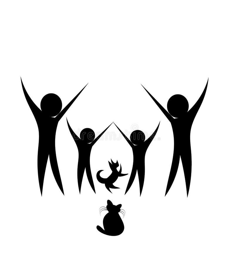Familie met dieren vector illustratie