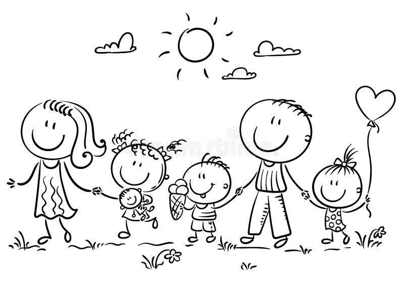 Familie met drie kinderen die, overzicht in openlucht lopen vector illustratie