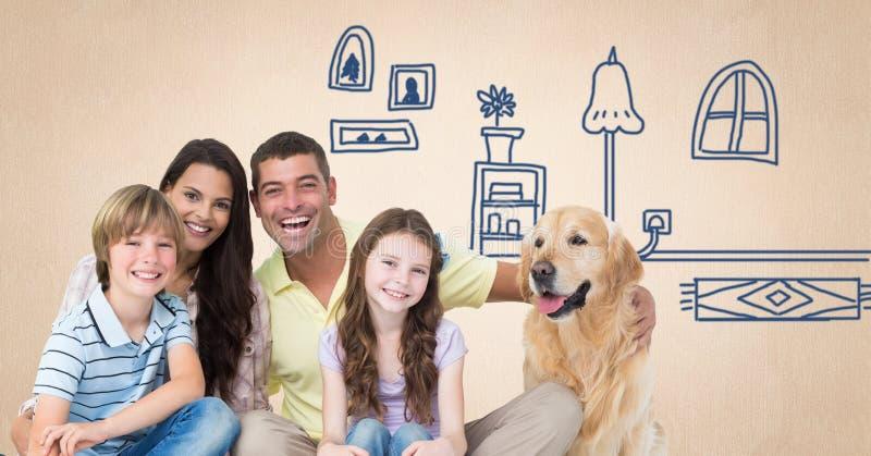 Familie met hond en huistekeningen royalty-vrije stock afbeeldingen