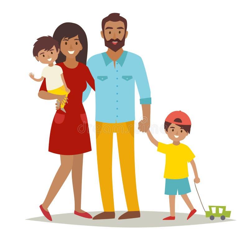 Familie met jonge geitjes Gelukkige Familie De Afrikaanse Amerikaanse familie van beeldverhaalcaracters royalty-vrije illustratie