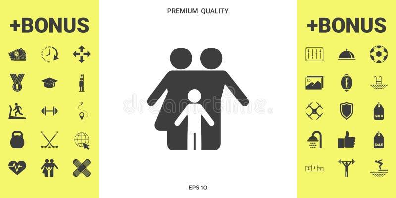 Familie met kind - pictogram stock illustratie