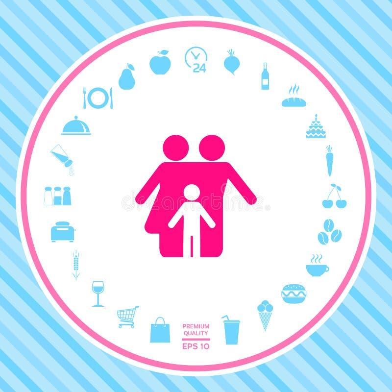Familie met kind - pictogram royalty-vrije illustratie
