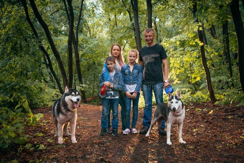 Familie met kinderen, en schor honden in het bos stock afbeeldingen