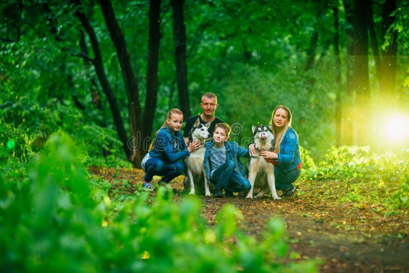 Familie met kinderen, en schor honden in het bos royalty-vrije stock afbeelding