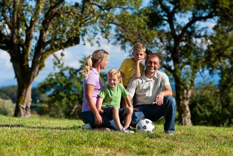 Familie met kinderen en voetbal op een weide stock fotografie