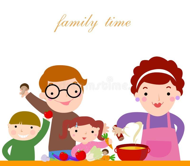 Familie met kinderen het koken royalty-vrije illustratie