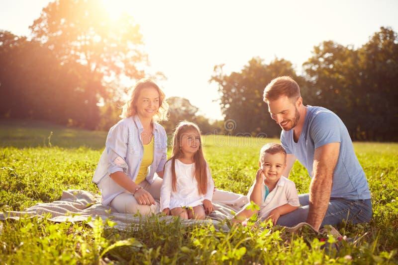 Familie met kinderen op picknick royalty-vrije stock afbeelding