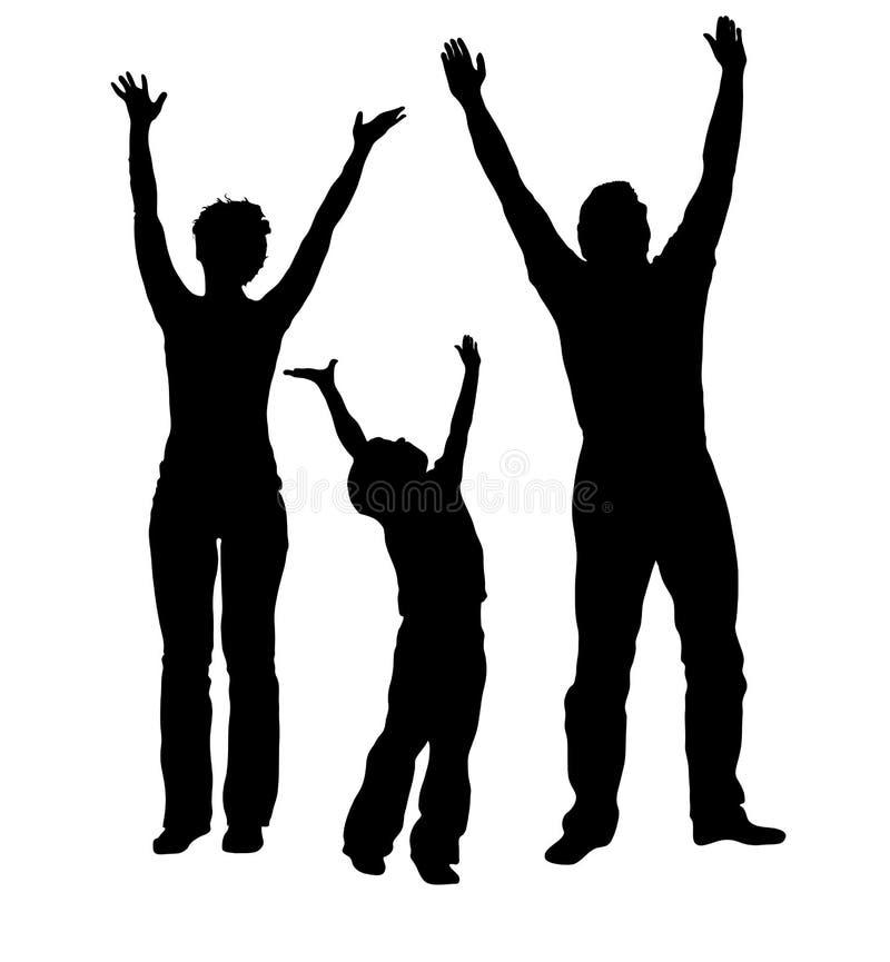 Familie met omhoog handen royalty-vrije illustratie