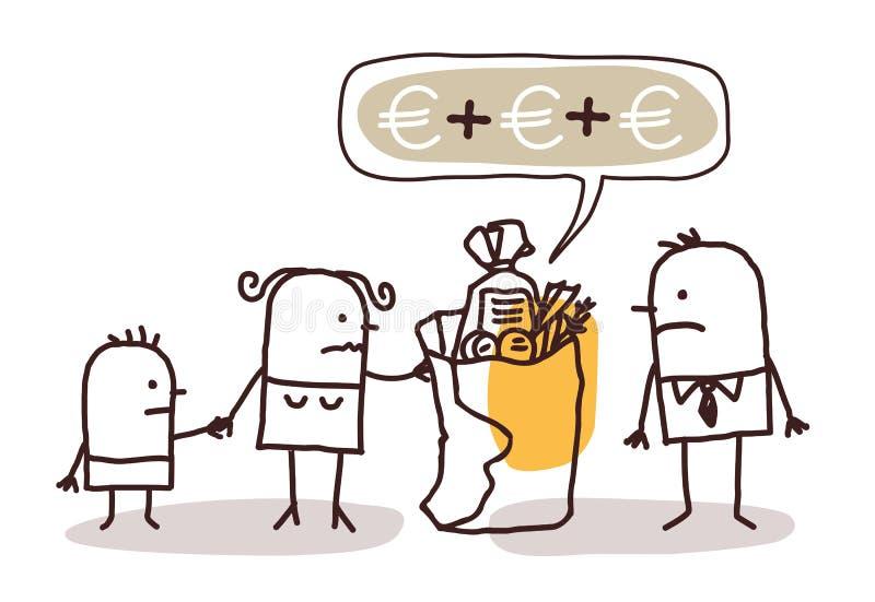 Familie met te duur voedselpak vector illustratie