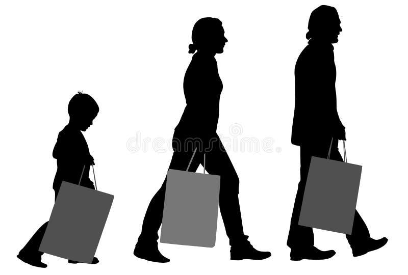 Familie met zakkensilhouet stock illustratie