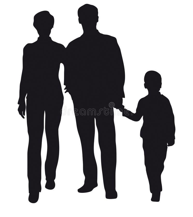 Familie met zoonssilhouet vector illustratie