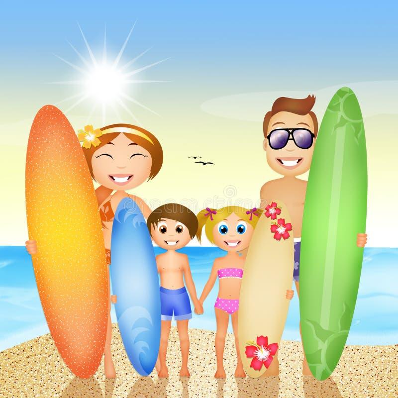 Familie mit Brandung auf dem Strand stock abbildung