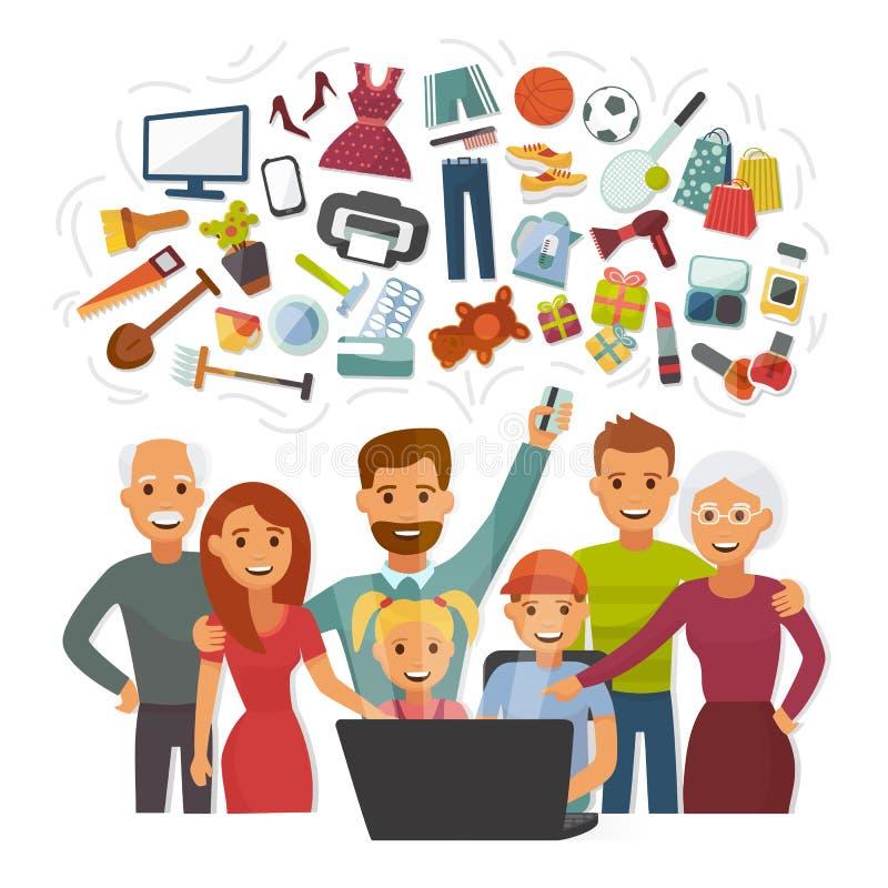 Familie mit Charaktercomputer der Kreditkartekaufendem on-line-glücklichen Menschen lizenzfreie abbildung
