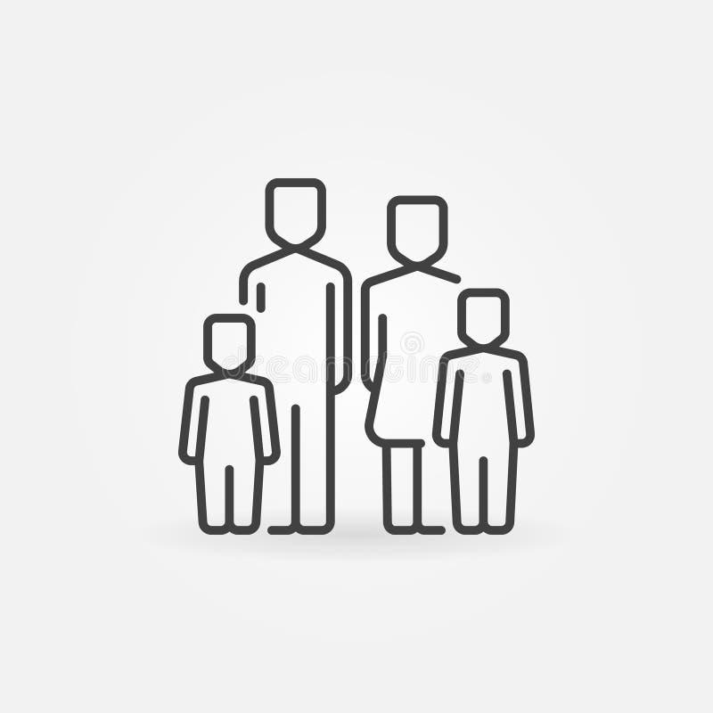 Familie mit der zwei Kinderikone lizenzfreie abbildung