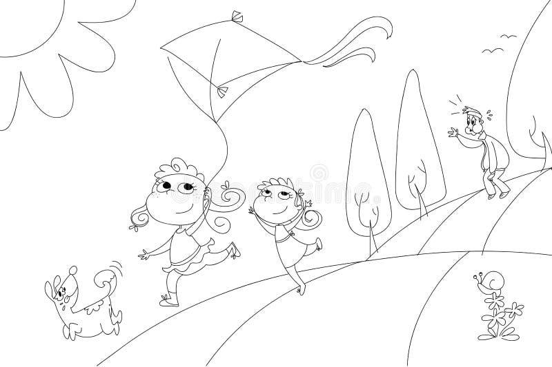 Familie mit Drachenfarbtonillustration lizenzfreie abbildung
