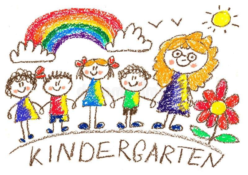Familie mit Großvater, Großmutter, Vater, Mutter, Sohn, daugther und Schätzchen kindergarten schule Glückliche Kinder mit Lehrer  stock abbildung