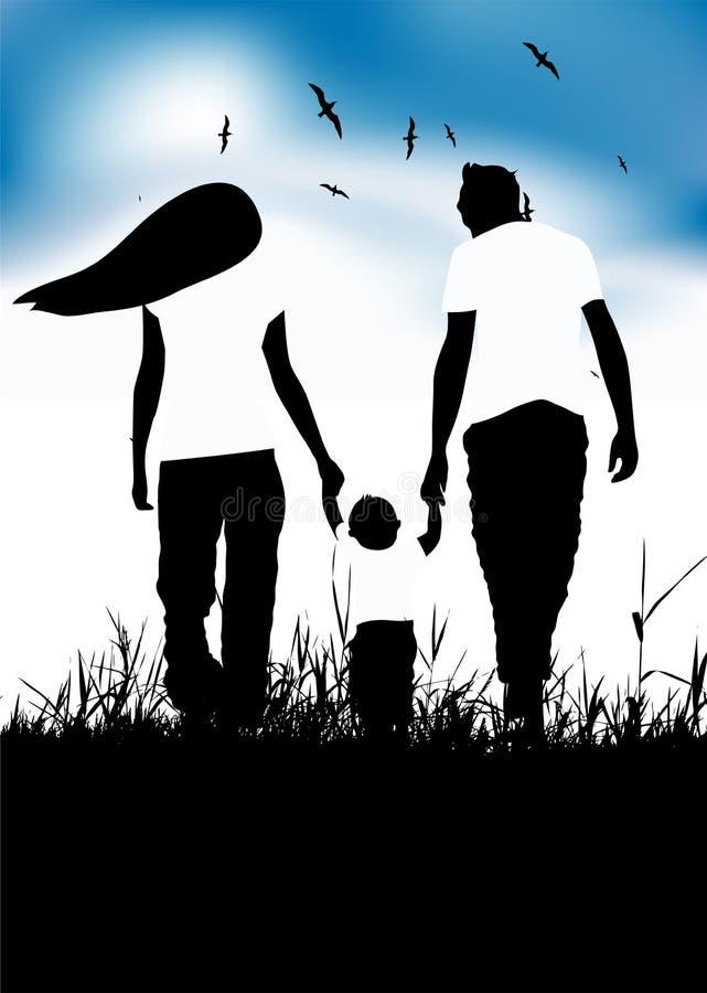 Familie mit kleinem Schätzchenweg auf Sommerfeld stock abbildung
