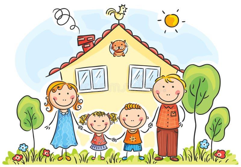 Familie mit zwei Kindern stock abbildung